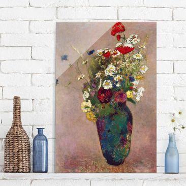 Produktfoto Glasbild - Kunstdruck Odilon Redon - Blumenvase mit Mohn - Hoch 3:2