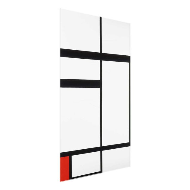 glasbild kunstdruck piet mondrian komposition mit rot schwarz und wei hoch 3 2. Black Bedroom Furniture Sets. Home Design Ideas