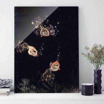 Produktfoto Glasbild - Kunstdruck Jean Dunand - Unterwasser-Szene mit rotem und goldenem Fisch, Luftblasen ausstoßend - Hoch 4:3