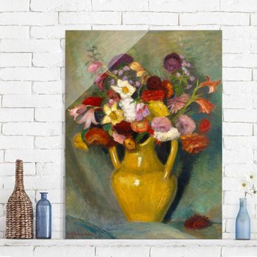 Immagine del prodotto Quadro in vetro - Otto Modersohn - Colorful Bouquet in Yellow Clay Jug - Verticale 4:3