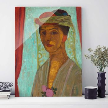 Immagine del prodotto Stampa su vetro - Paula Modersohn-Becker - Self-Portrait with a Hat and Veil - Verticale 4:3