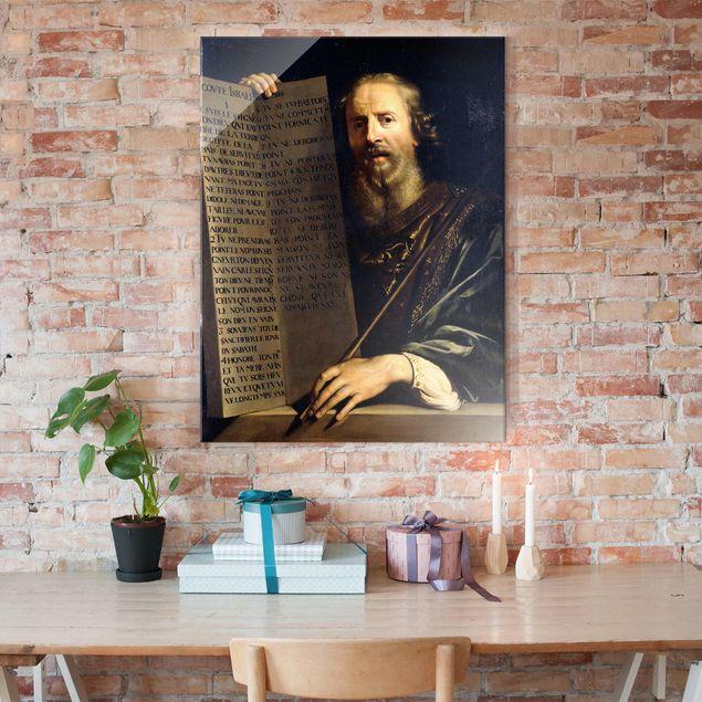 Produktfoto Glasbild - Kunstdruck Philippe de Champaigne - Mose hält die Tafel mit den Zehn Geboten - Hoch 4:3