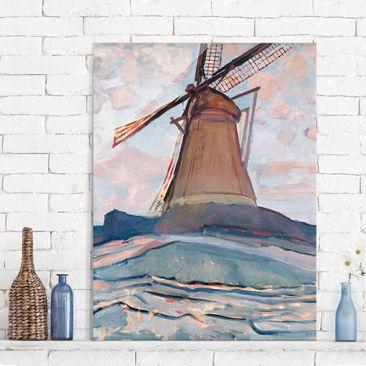 Produktfoto Glasbild - Kunstdruck Piet Mondrian - Windmühle - Hoch 4:3