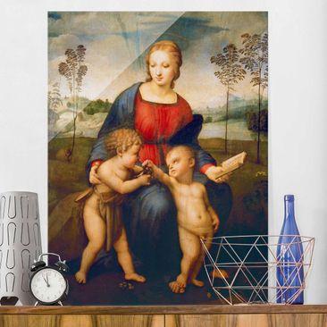 Produktfoto Glasbild - Kunstdruck Raffael - Die Madonna mit dem Kinde, dem Johannesknaben und dem Distelfink - Hoch 4:3