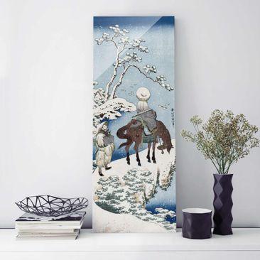 Produktfoto Glasbild - Kunstdruck Katsushika Hokusai - Der chinesische Dichter Su Dongpo - Panorama Hoch