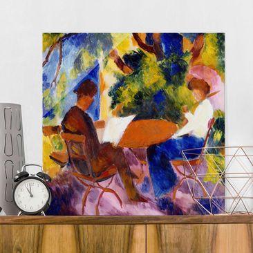 Immagine del prodotto Quadro su vetro - August Macke - Couple at the Garden Table - Quadrato 1:1
