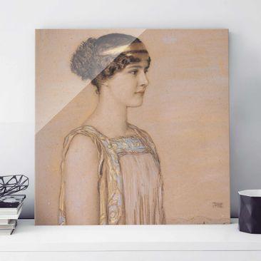 Produktfoto Glasbild - Kunstdruck Franz von Stuck - Portrait von Mary in einem griechischen Kostüm - Quadrat 1:1
