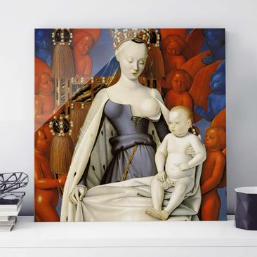 Produktfoto Glasbild - Kunstdruck Jean Fouquet - Die thronende Madonna mit dem Christuskind - Quadrat 1:1