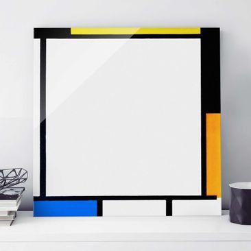 Produktfoto Glasbild - Kunstdruck Piet Mondrian - Komposition II - Quadrat 1:1