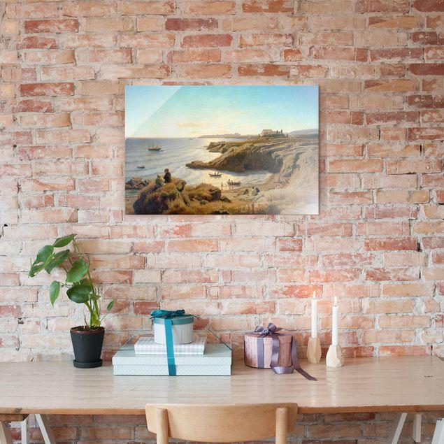 Produktfoto Glasbild - Kunstdruck Andreas Achenbach - Küste bei Syrakus - Quer 2:3