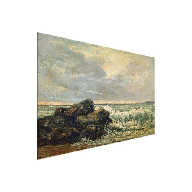 Produktfoto Glasbild - Kunstdruck Gustave Courbet - Die Welle - Quer 2:3