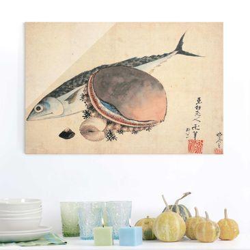 Produktfoto Glasbild - Kunstdruck Katsushika Hokusai - Makrele und Seemuscheln - Quer 2:3