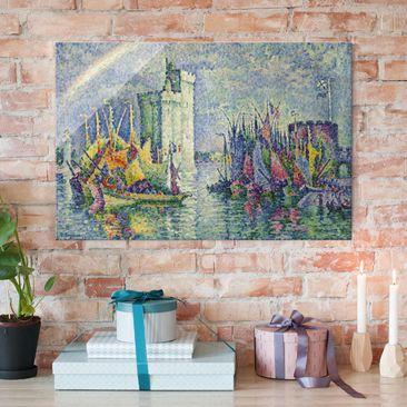 Produktfoto Glasbild - Kunstdruck Paul Signac - Regenbogen über dem Hafen von La Rochelle - Pointillismus - Quer 2:3
