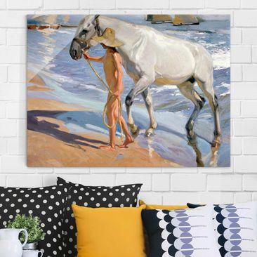 Produktfoto Glasbild - Kunstdruck Joaquin Sorolla - Das Bad des Pferdes - Quer 3:4