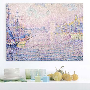 Produktfoto Glasbild - Kunstdruck Paul Signac - Der Hafen von Marseille bei Morgennebel - Pointillismus - Quer 3:4