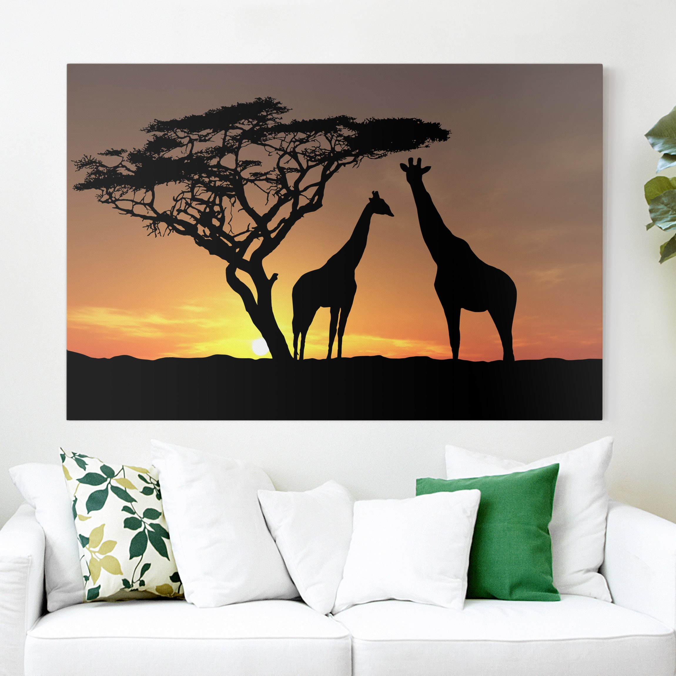 afrika leinwandbild african sunset giraffen gelb. Black Bedroom Furniture Sets. Home Design Ideas