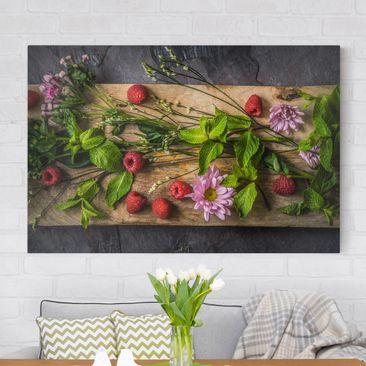 Produktfoto Leinwandbild - Blumen Himbeeren Minze - Quer 2:3, vergrößerte Ansicht in Wohnambiente, Artikelnummer 205128-XWA