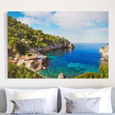 Produktfoto Leinwandbild - Cala de Deia in Mallorca - Quer 2:3, vergrößerte Ansicht in Wohnambiente, Artikelnummer 205143-XWA