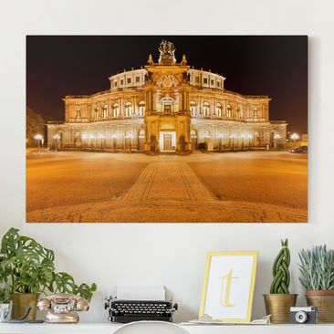 Produktfoto Leinwandbild - Dresdner Opernhaus - Quer 2:3, vergrößerte Ansicht in Wohnambiente, Artikelnummer 205199-XWA
