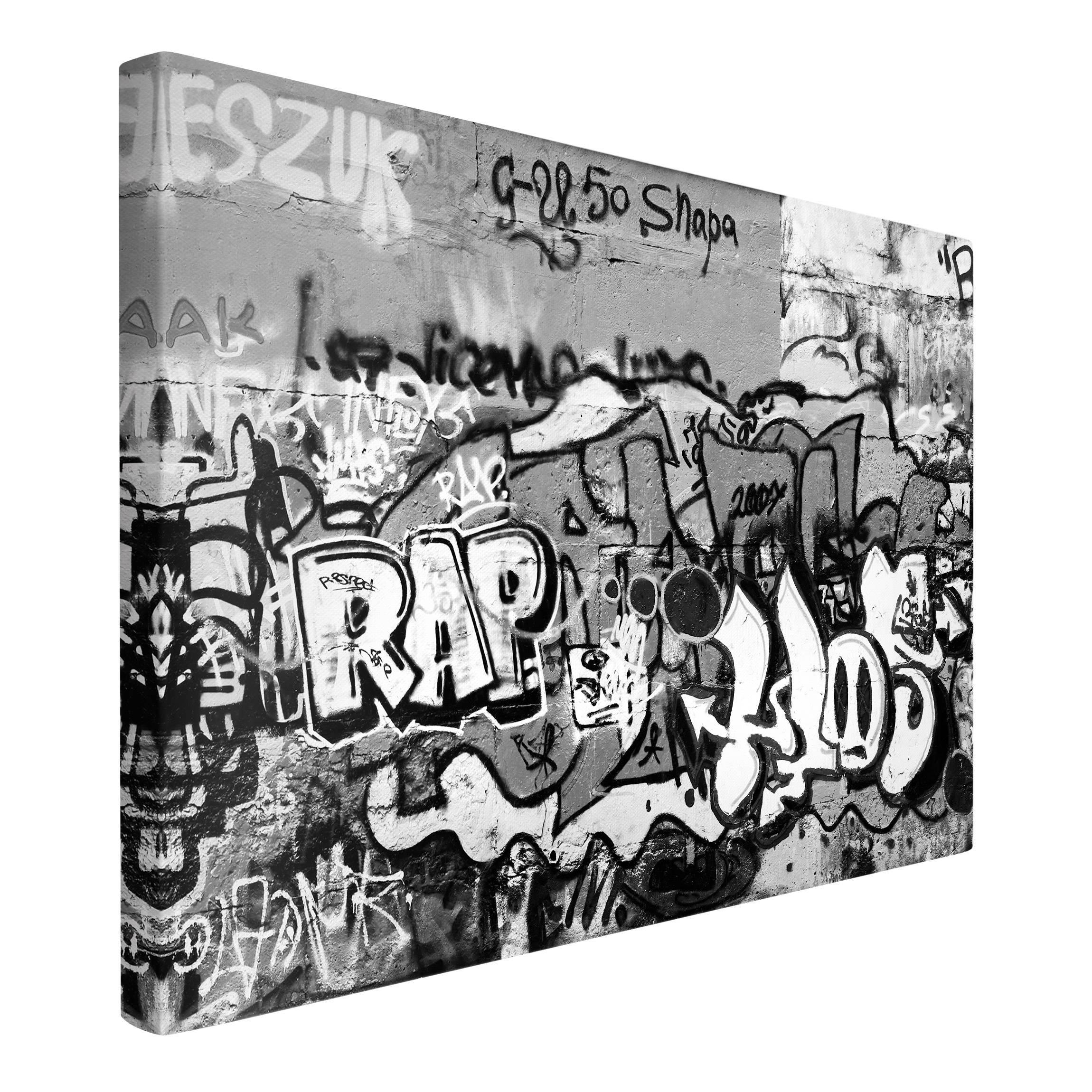 leinwandbild schwarz wei graffiti art quer 2 3. Black Bedroom Furniture Sets. Home Design Ideas
