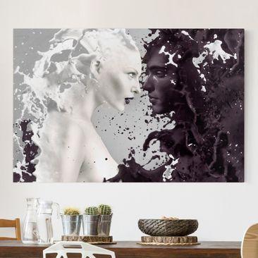 Produktfoto Leinwandbild Schwarz-Weiß - Milk &...