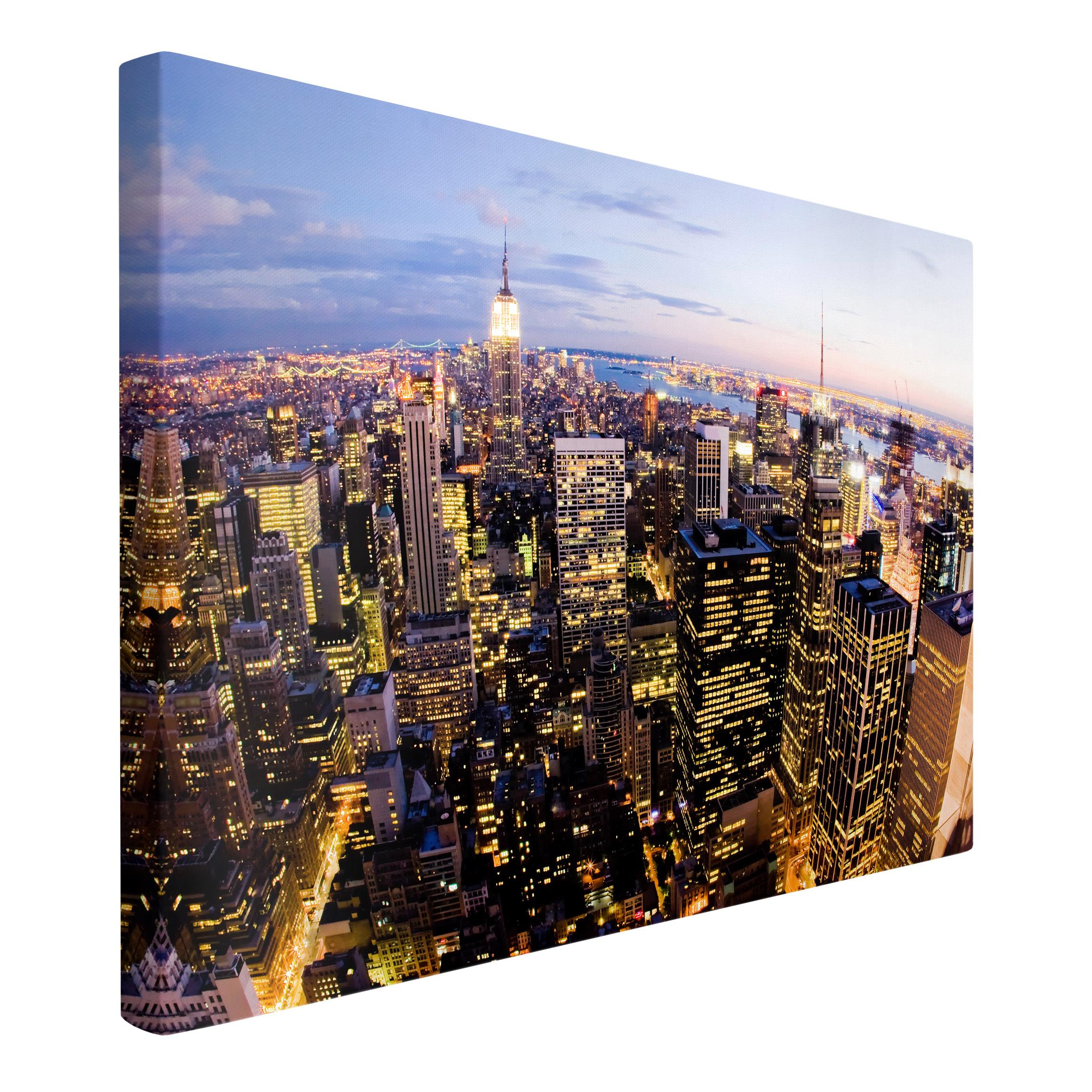 leinwandbild new york skyline bei nacht quer 2 3. Black Bedroom Furniture Sets. Home Design Ideas