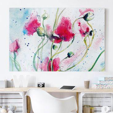Produktfoto Leinwandbild - Painted Poppies - Quer 2:3, vergrößerte Ansicht in Wohnambiente, Artikelnummer 205431-XWA