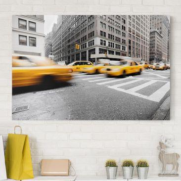 Produktfoto Leinwandbild Schwarz-Weiß - Rasantes New York - Quer 2:3, vergrößerte Ansicht in Wohnambiente, Artikelnummer 205460-XWA