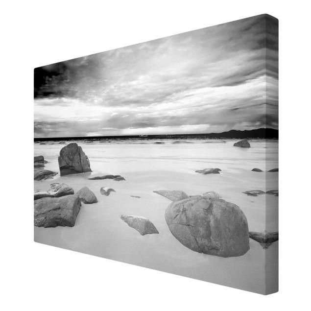 Produktfoto Leinwandbild Schwarz-Weiß - Rocky Coast - Quer 2:3, Spiegelkantendruck rechts, Artikelnummer 205469-FR