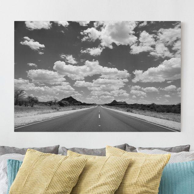Produktfoto Leinwandbild Schwarz-Weiß - Route 66 II - Quer 2:3, vergrößerte Ansicht in Wohnambiente, Artikelnummer 205474-XWA