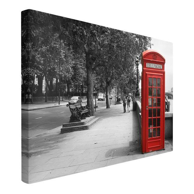 Produktfoto Leinwandbild Schwarz-Weiß - Telephone - Quer 2:3, Spiegelkantendruck links, Artikelnummer 205550-FL
