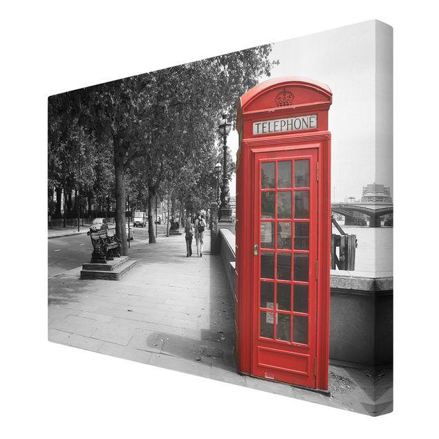 Produktfoto Leinwandbild Schwarz-Weiß - Telephone - Quer 2:3, Spiegelkantendruck rechts, Artikelnummer 205550-FR