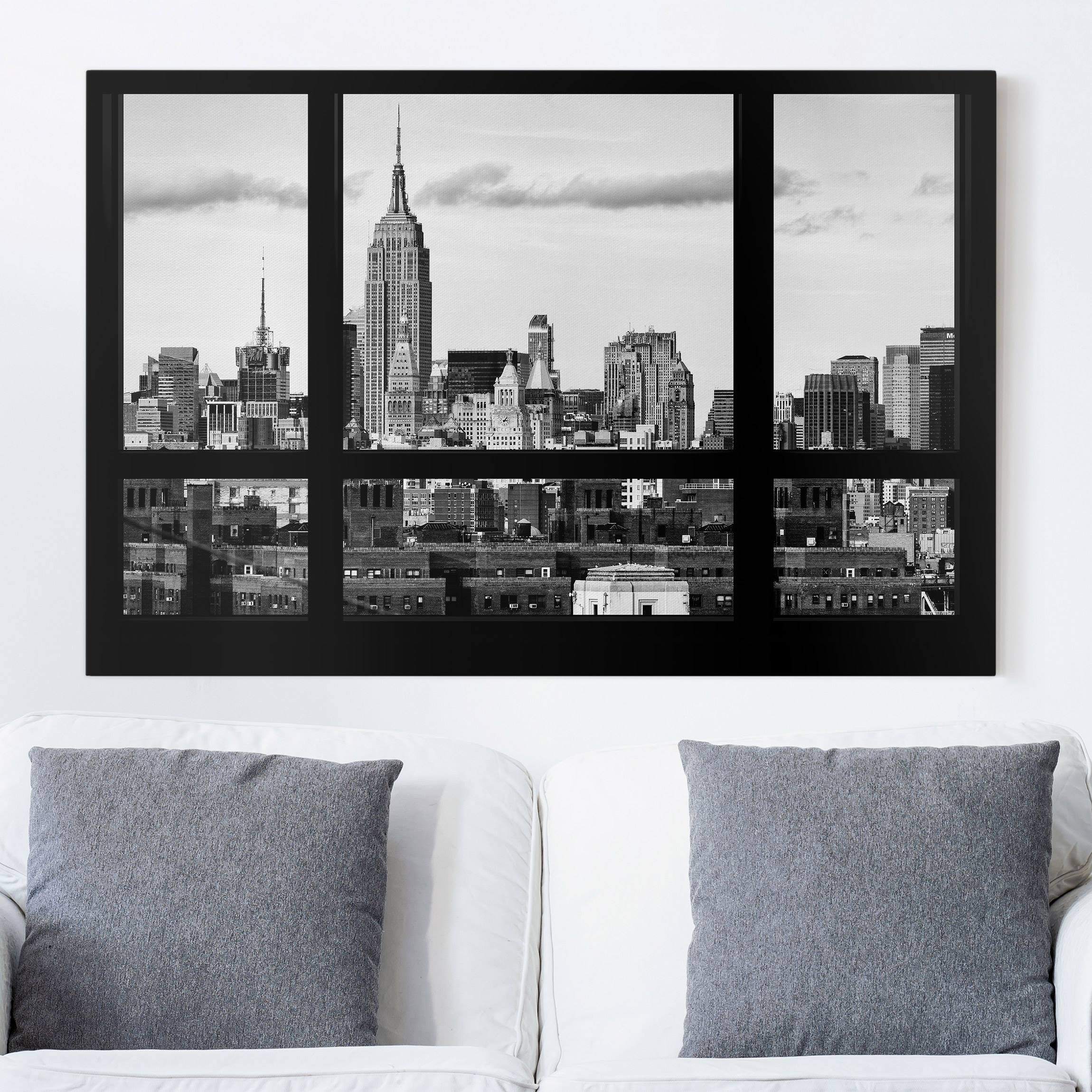 leinwandbild fensterblick new york skyline schwarz weiss quer 2 3. Black Bedroom Furniture Sets. Home Design Ideas