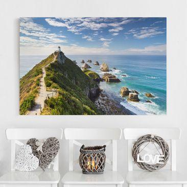 Produktfoto Leinwandbild - Nugget Point Leuchtturm und Meer Neuseeland - Quer 2:3, vergrößerte Ansicht in Wohnambiente, Artikelnummer 205857-XWA