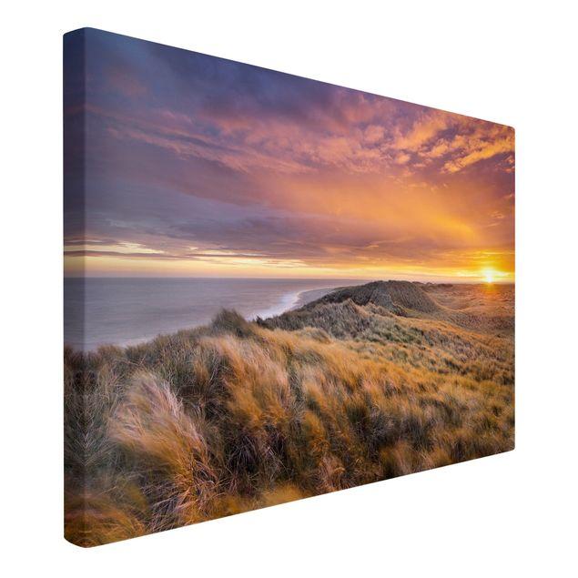 Produktfoto Leinwandbild - Sonnenaufgang am Strand auf Sylt - Quer 2:3, Spiegelkantendruck links, Artikelnummer 205864-FL