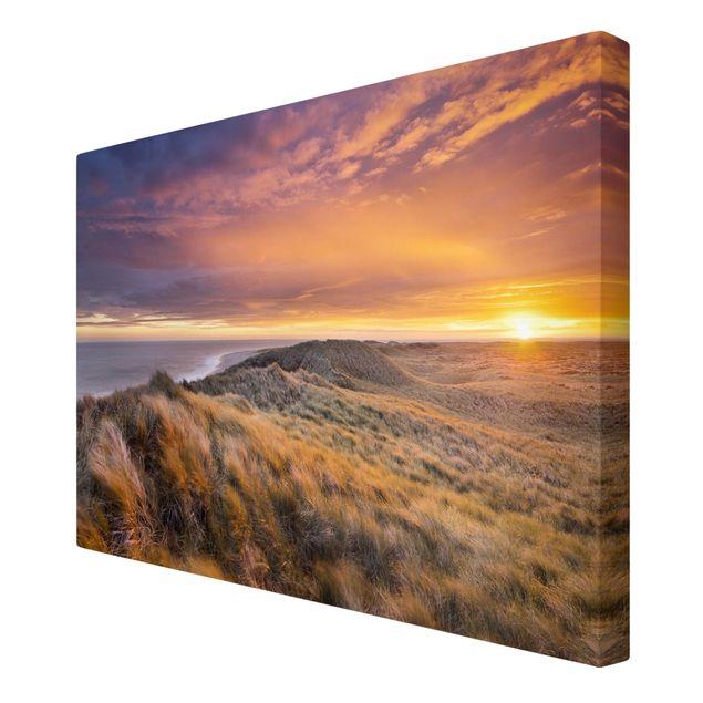 Produktfoto Leinwandbild - Sonnenaufgang am Strand auf Sylt - Quer 2:3, Spiegelkantendruck rechts, Artikelnummer 205864-FR