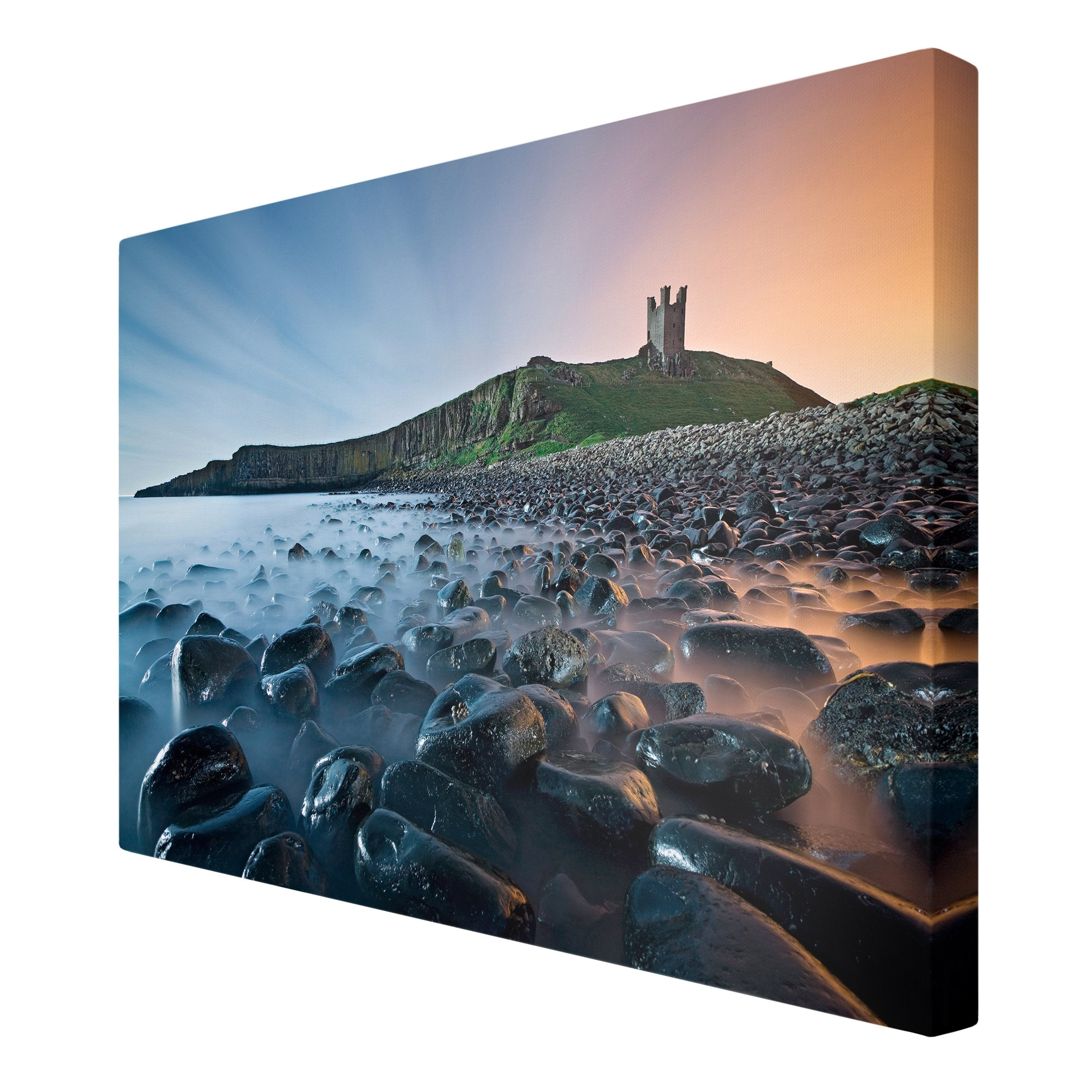 leinwandbild sonnenaufgang mit nebel bei dunstanburgh. Black Bedroom Furniture Sets. Home Design Ideas