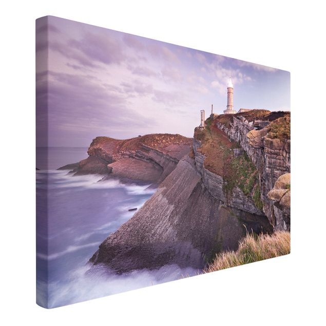 Produktfoto Leinwandbild - Steilküste und Leuchturm - Quer 2:3, Spiegelkantendruck links, Artikelnummer 205869-FL