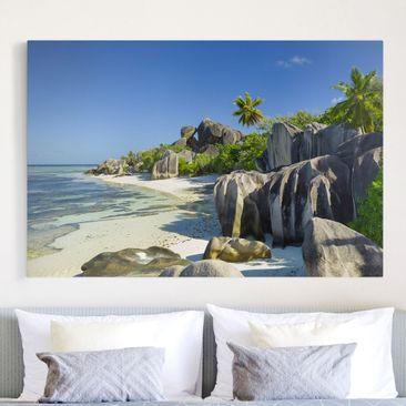 Produktfoto Leinwandbild - Traumstrand Seychellen - Quer 2:3, vergrößerte Ansicht in Wohnambiente, Artikelnummer 205873-XWA