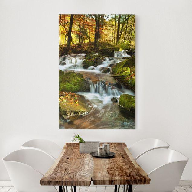 Produktfoto Leinwandbild - Wasserfall herbstlicher Wald - Hoch 3:2, in Wohnambiente, Artikelnummer 206057-WA