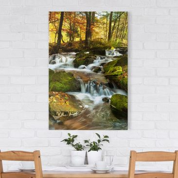 Product picture Canvas Art - Waterfall autumnal forest -...