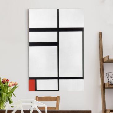 Produktfoto Leinwandbild - Piet Mondrian - Komposition mit Rot, Schwarz und Weiß - Hoch 3:2, vergrößerte Ansicht in Wohnambiente, Artikelnummer 206114-XWA