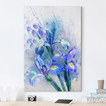 Produktfoto Leinwandbild - Aquarell Blumen Iris - Hoch 3:2, vergrößerte Ansicht in Wohnambiente, Artikelnummer 206125-XWA