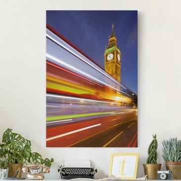 Immagine del prodotto Stampa su tela Traffic in London at the Big Ben at night - Verticale 3:2