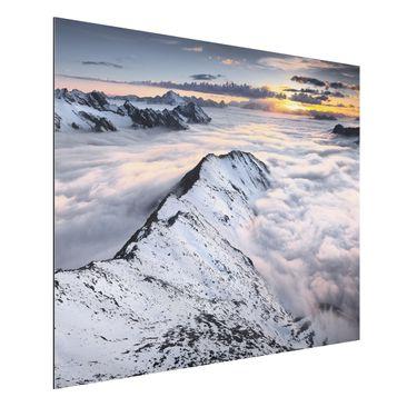 Produktfoto Alu-Dibond - Blick über Wolken und...