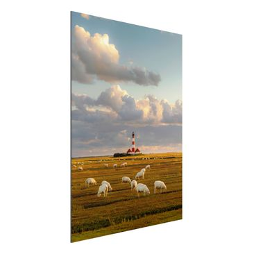 Produktfoto Alu-Dibond - Nordsee Leuchtturm mit Schafsherde - Hoch 4:3