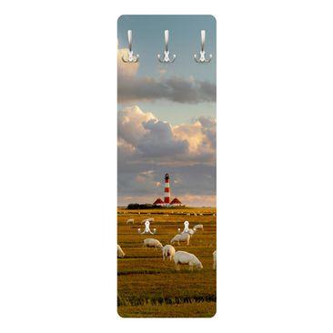 Produktfoto Garderobe - Nordsee Leuchtturm mit Schafsherde