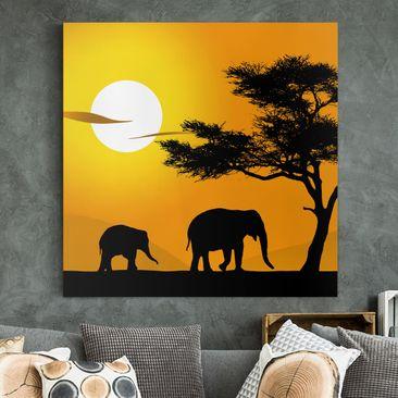 Produktfoto Afrika Leinwandbild African Elefant Walk - Gelb, Schwarz, Quadrat 1:1, vergrößerte Ansicht in Wohnambiente, Artikelnummer 206243-XWA