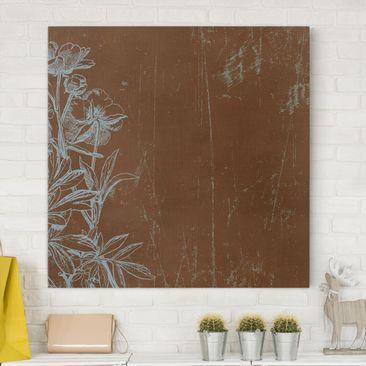 Produktfoto Leinwandbild - Blaue Blumenskizze - Quadrat 1:1, vergrößerte Ansicht in Wohnambiente, Artikelnummer 206287-XWA