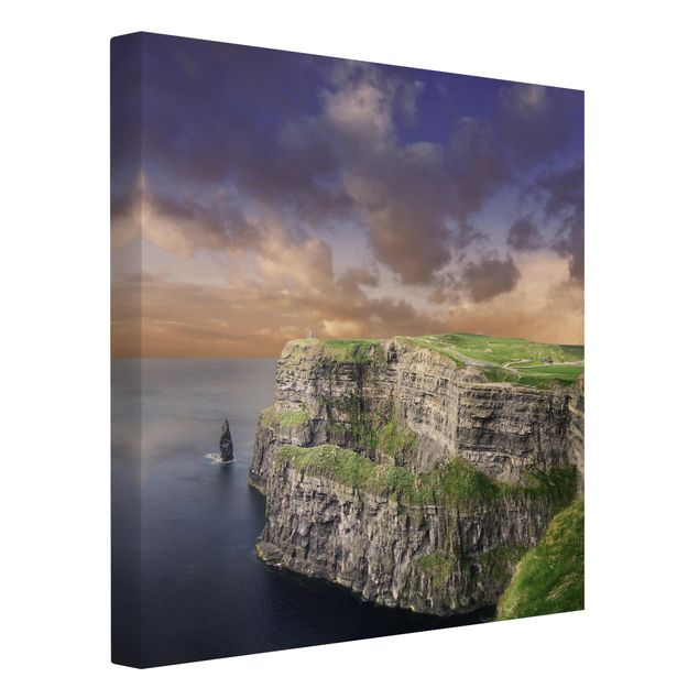 Produktfoto Leinwandbild - Cliffs Of Moher - Quadrat 1:1, Spiegelkantendruck links, Artikelnummer 206322-FL